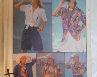 "Vintage PATTERN Simplicity 7491 Misses' ""Go-Everywhere"" Skirt, Shorts, Bra Top, Shirt & Unlined Jacket Size 12"