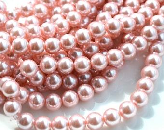 Beautiful Pink Glass Pearls 10mm Round Beads   FULL STRAND