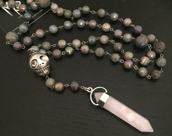 Catholic Rosary, Gothic Rosary, Goth Rosary in Labradorite Gemstones & Steel, Gemstone Rosary, Protection Necklace