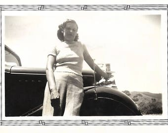 "Vintage Snapshot ""My Gal"" Sultry Woman Leaning On Car Low Angle Photo Artistic Small Found Vernacular Photo"