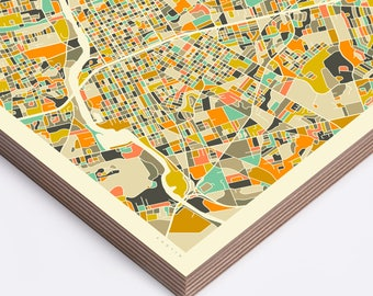 AUSTIN MAP (Ready to Hang, Birch Wood Print for your Home Décor) ivory version