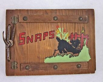 Vintage Scotty Dog Wooden Picture Album, Retro, Nostalgia