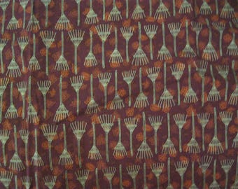 1 Yard of 100% cotton Fabric Autumn Leaves and Rakes