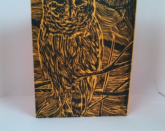 Hand Printed Owl Linoprint 5 x 7 Note Card