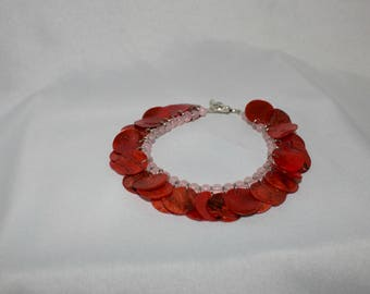 Pink Bracelet with Red Shell Charms
