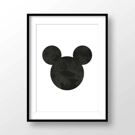 Mickey mouse ears print mickey mouse poster black white