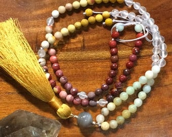 Heart chakra to crown chakra mala, gemstone healing, strawberry quartz