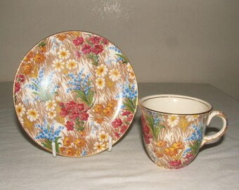 Royal Winton chintz cup and saucer Marguerite Chintz c1930s.