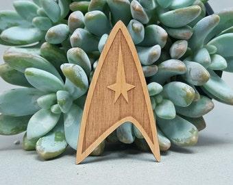Star Trek StarFleet Insignia Fridge Magnet - Laser Engraved Alder Wood - Refrigerator Magnet