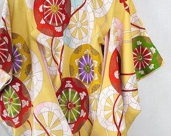 Second hand girl's kimono, Japanese vintage kimono for girl, Wheel of ox carriage