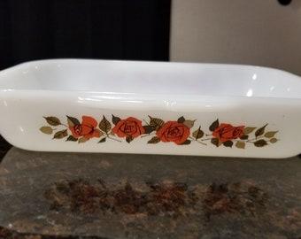 Vintage Phoenix Opalware 042 Red Roses Pattern Casserole Dish