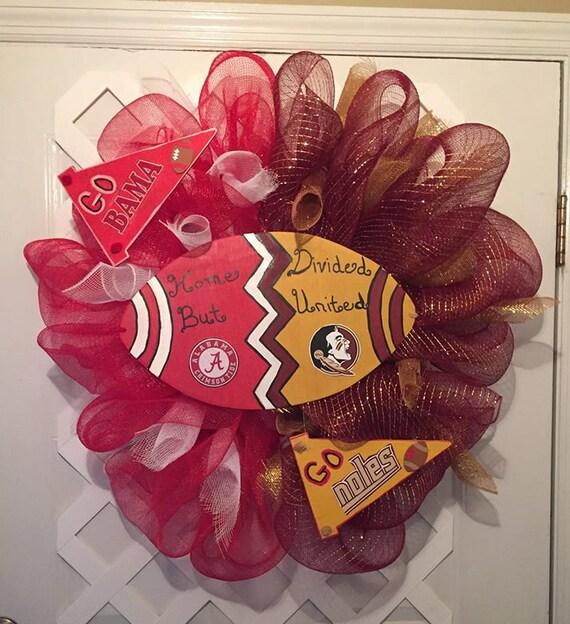 Crimson Tide/ FSU Seminoles Deco Wreath - Collegiate Home Divided Wreath - Roll Tide/Noles Deco Wreath - Alabama Wreath - Noles Wreath