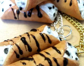 Miniature Cannoli Italian Dessert Clay Charm Necklace