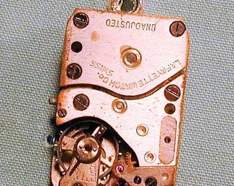 Steampunk Vintage Art Deco Era Lafayette Watch Movement Pendant with Chain OOAK #25
