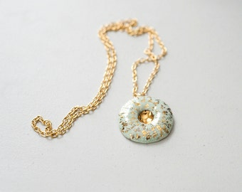 Porcelain and Steel - Sea Urchin Pendant - Porcelain Jewelry - 22k Gold Luster, minimalist jewelry, nickel free, turquoise, coral