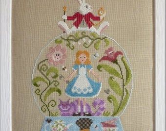 Alice in Wonderland – counted cross stitch chart to work in 20 colours of DMC thread.  Alice, Mad Hatter, Cheshire cat.  Snow Globe shape
