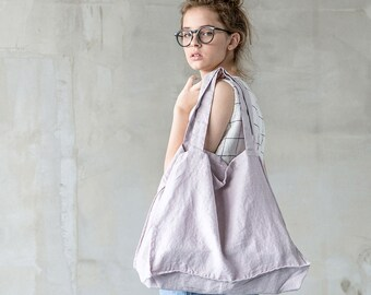Large linen tote bag / linen beach bag / linen shopping bag in ashes of rose