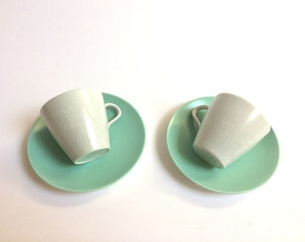 Poole Pottery Blue Tea cup saucer set vintage  2 tea cups and saucers tableware