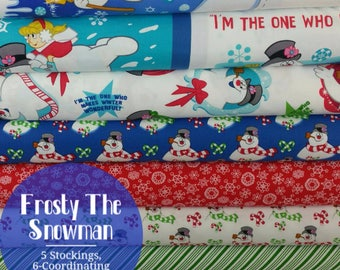 Frosty The Snowman Bundle from Quilting Treasures - Panel with 5 Stockings, 6 Coordinating Prints, and a Soft Book