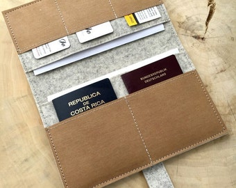 Travel organizer felt & vegan leather - travel case