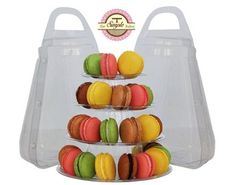 2 x 4 Tier Macaron Display Stand for French Macarons with Carrying Case - Macaron Tower
