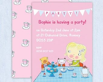 Personalised Girl's Tea Party Invitations (choose the hair colour) -- Minimum order 8