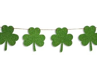 Shamrock glitter garland, St Patricks Day garland, St Patrick's Day shamrock banner, St Patrick's Day decoration, Shamrock Bunting