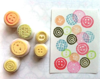 sewing button rubber stamps | craft gift for her | birthday scrapbooking | diy planner | hand carved by talktothesun | set of 6 | small