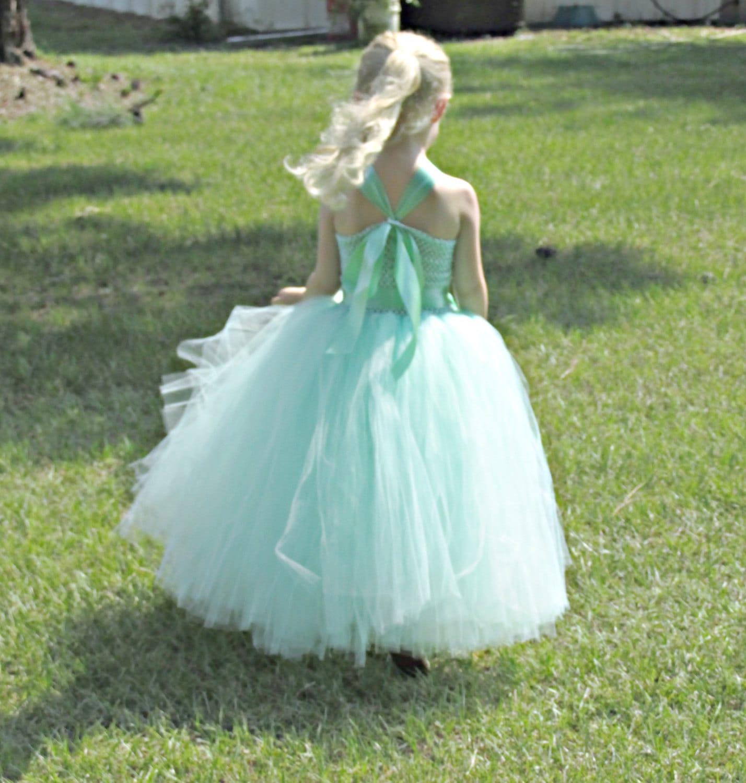 Mint Green Tutu Dress Flower Girl Tulle Skirt & Crochet