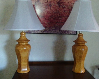 Pair of ceramic lamps vinegar painted in ocher