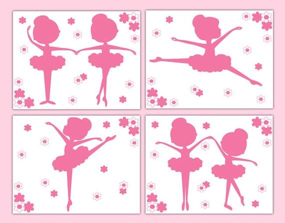 BAILARINA rosa silueta impresiones arte bebé niña danza vivero