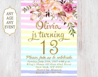 Floral birthday invitation 13th birthday invitations girl rainbow stripes gold glitter, 14th,15th,16th,17th,18th,19th, Any Age 02