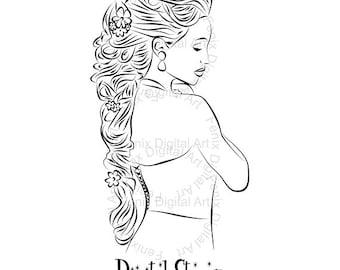 Digital Stamp,Clipart,Line art,Rapunzel Fashion Girl graphics,Fashion Princess,Digi stamp,digistamp,fashion Illustration INSTANT DOWNLOAD