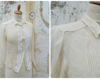 Vintage  1920/1930 French cream silk chiffon blouse with lace  size S/m