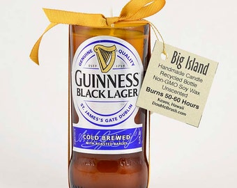 Guinness Black Lager Beer Candle Gift Irish Beer Dublin Ireland Genuine Rcycled Bottle Brew Suds Drinks Dark Beer Soy Candle Pub Decor