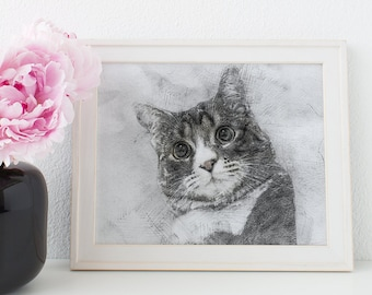 Gift for mom, cat portrait, cat lover gift, custom cat portrait, Pet Art, Custom Portrait, Pet Memorial, art print, custom pet portrait