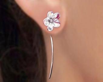 Forget-Me-Not flower earrings sterling silver earrings jewelry dangle earrings small stud earrings long stem earrings forget me not E-130