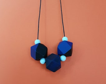 Hand painted geometric wooden necklace