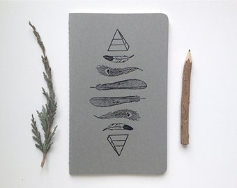 Letterpress Moleskine Journal - Feathers & Pyramids Pattern