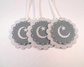 Twinkle Star Gift Tags, Favor Tags, Silver Moon and Star Birthday Tags, Party Favor Tag, Whimsy Gift Tags