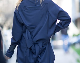 Oversize Navy Blue Criss Cross Cotton Top, Quilted Dress, Elegant Long Dress, Extra Large Long Sleeve Tunic Tops - TU0514PLV