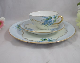 Vintage Hand Painted Artist Signed Dooley Hutschenreuther Selb Bavaria Tea Trio Teacup - Outstanding.- 4 Available