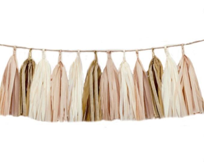 Tissue tassel garland in blush, ivory, and antique gold, Tissue paper tassel, Blush Birthday Decor, Blush  Wedding, Baby shower