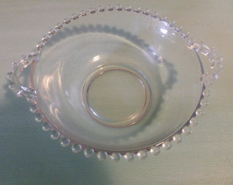 Candlewick Beaded Glass Bowl with Handles by the Imperial Glass Co. Mints, Nuts, Candies