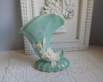 Vintage Weller Cameo vase 1940s aqua vase Weller horn vase
