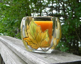 Hand Painted Fall Leaves, Candle Holder, Candy Dish, Fall Decor, Autumn Decor, Thanksgiving
