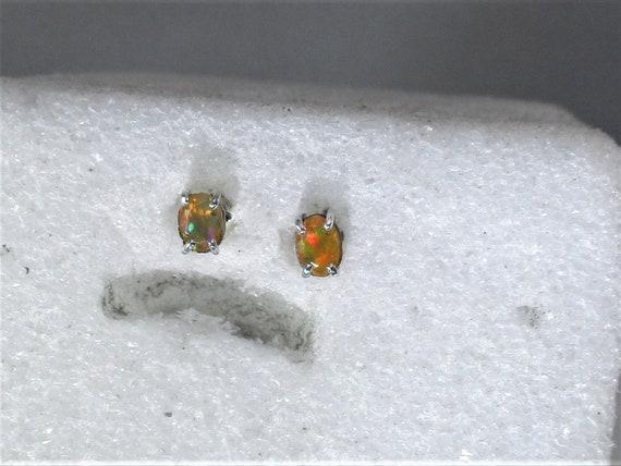 genuine Ethiopian opal gemstones handmade sterling silver stud post earrings- opal jewelry- fire opal