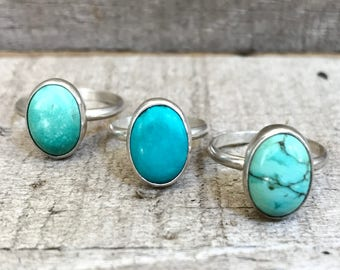 Elegant Solitaire Veined Oval Turquoise Sterling Silver Ring | Boho | Rocker | Turquoise Ring | Sterling Silver Ring | Choose Your Stone