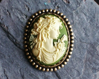 Irish green cameo brooch, antique brass brooch, victorian brooch, green brooch, holiday gift ideas, gift idea for mom, unique Christmas gift