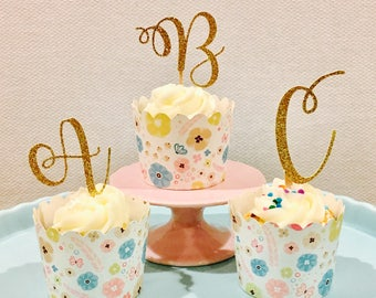 12ct Initial cupcake topper, Letter cupcake topper, Personalize Letter cupcale topper